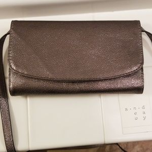 Gunmetal metallic purse